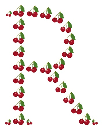 Letter - R made from cherry  Isolated on a white  Vector