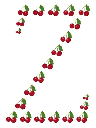 Letter - C made from cherry  Isolated on a white  Vector