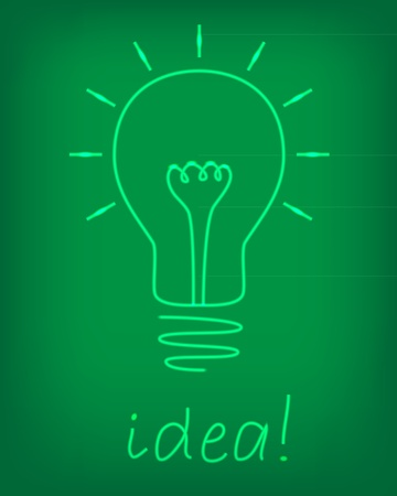 bulb electric over chalkboard, idea  vector illustration Vector