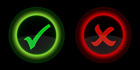 Check mark buttons on black background  Vector illustration  일러스트