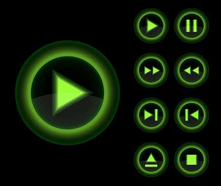 tv remote: Вектор глянцевый 3D игрок зеленые кнопки набор векторных веб-3d иконки коллекции