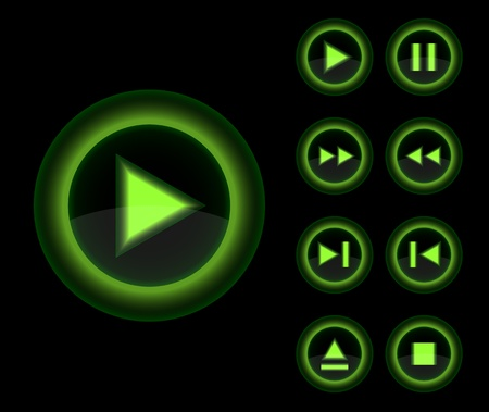Vector glossy 3d player green buttons set  Vector web 3d icons collection