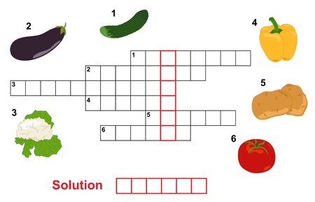 crossword: vegetable puzzle  crossword , words game for children Illustration