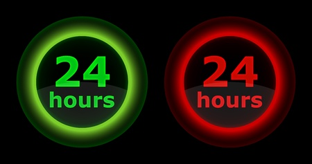 green and red 24 hours button Stock Vector - 13413288
