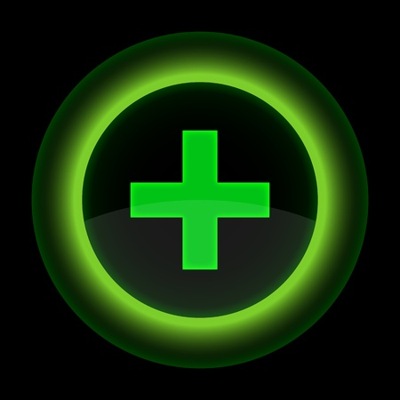 addition: Green glossy web button with addition sign. Shape icon on black background. 10 eps