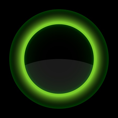 gloss banner: Green glossy blank internet button. Shape icon on black background. 10 eps Illustration
