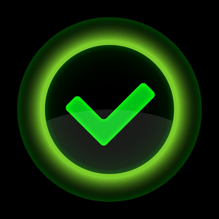 Green glossy web button with check mark sign. Shape icon on black background. 10 eps Vector