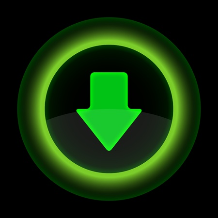 gloss banner: Green glossy internet button with arrow download symbol. Shape icon on black background. 10 eps Illustration