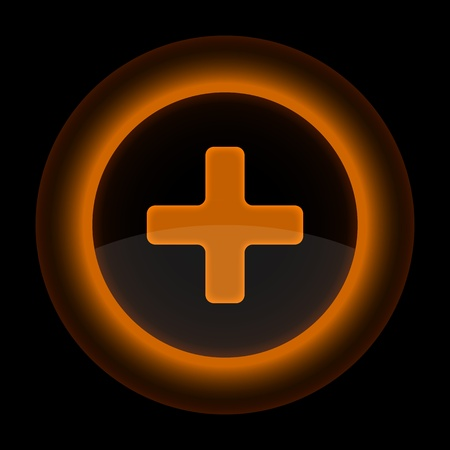 Orange glossy web button with addition sign. Shape icon on black background. 10 eps Vector