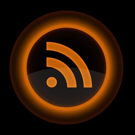 syndication: Bot�n de color naranja brillante Web con el signo de RSS. Forma icono en fondo negro. 10 EPS Vectores