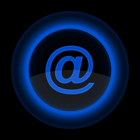 inet: Blue glossy web button with white at sign. Shape icon on black background. 10 eps