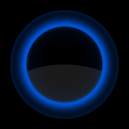 Blue glossy blank internet button. Shape icon on black background. 10 eps