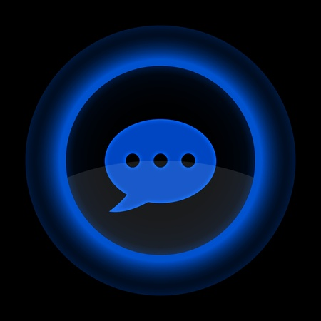 inet: Blue glossy web button with chat room sign. Shape icon on black background. 10 eps Illustration