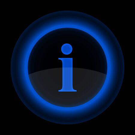 정보 기호 파란색 광택 웹 단추입니다. 검은 배경에 아이콘 모양. EPS 10