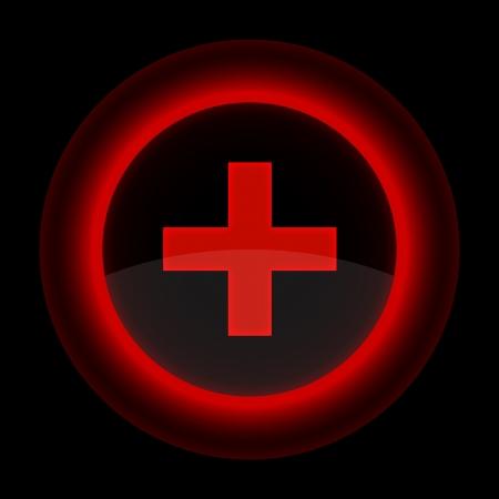 addition: Bouton rouge brillant avec Web signe plus. Forme ic�ne sur fond noir.