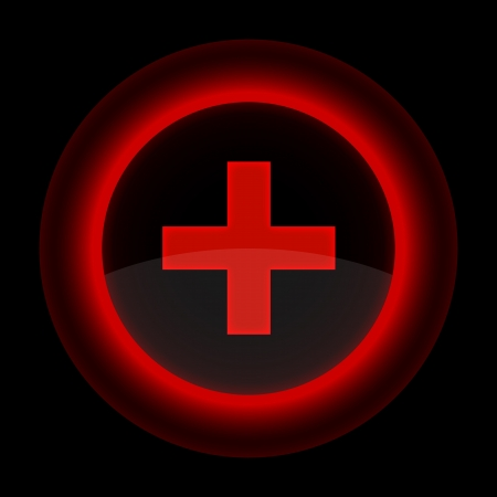 Red glossy web button with addition sign. Shape icon on black background.