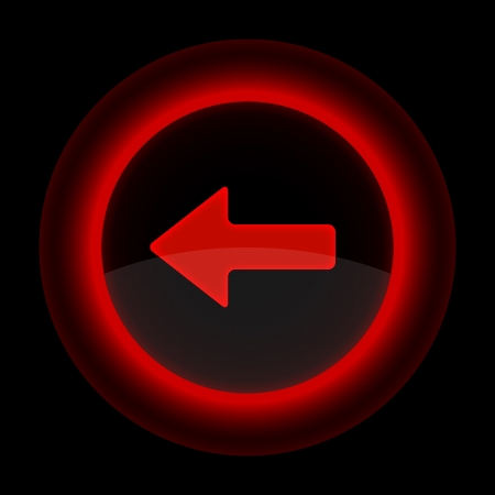 Red glossy web button with arrow left sign. Shape icon on black background. Vector