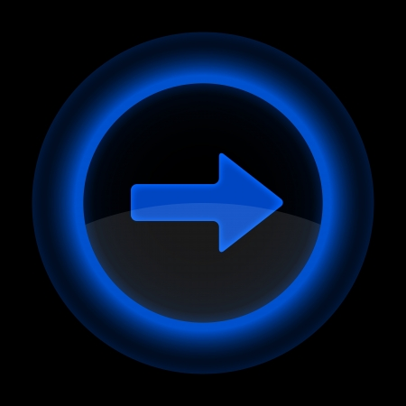 Blue glossy web button with arrow right sign. Shape icon on black background. Stock Vector - 13767782