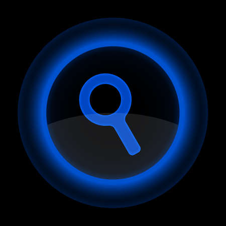 Blue glossy web button with magnifying glass sign. Shape icon on black background. Vector
