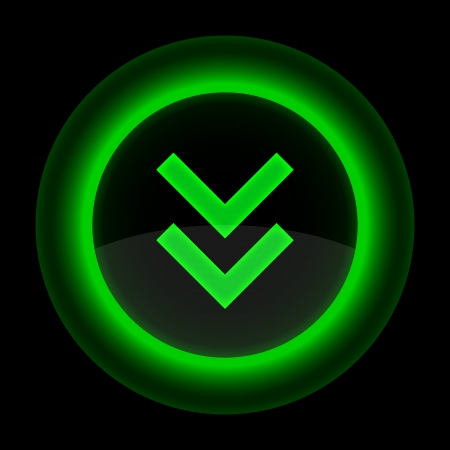 gloss banner: Green glossy internet button with arrow download symbol. Shape icon on black background.