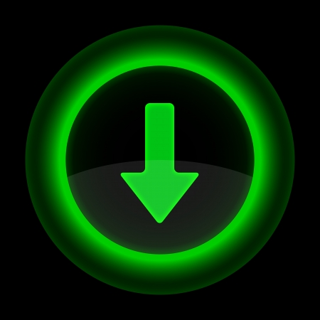 inet: Green glossy internet button with arrow download symbol. Shape icon on black background.
