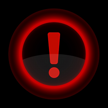 inet: Red glossy web button with attention warning sign. Shape icon on black background.