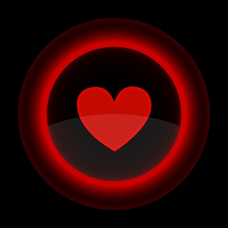 Red glossy web button with heart sign. Shape icon on black background.  Vector