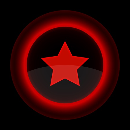 Red glossy web button with star sign. Shape icon on black background. Stock Vector - 13767960