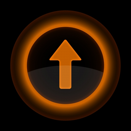gloss banner: Orange glossy internet button with arrow upload symbol. Shape icon on black background.