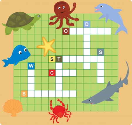 sea animal puzzle (crossword), words game for children.  Illustration