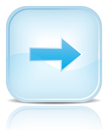 Blue water web button with arrow sign. Blue rounded square shape with black shadow and reflection on white background.