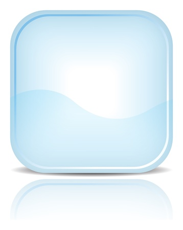 Blue rounded square shape with black shadow and reflection on white background. Vector