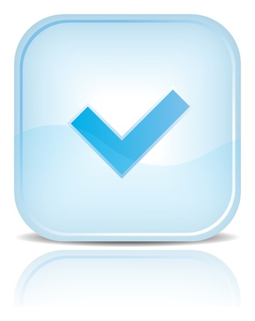 check mark sign: Blue water web button with check mark sign. Blue rounded square shape with black shadow and reflection on white background.