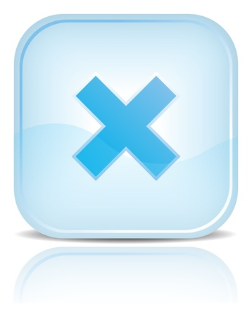 rood: Blue water web button with delete symbol sign. Blue rounded square shape with black shadow and reflection on white background.