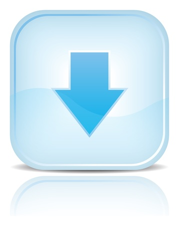 Blue water web button with download symbol arrow sign. Blue rounded square shape with black shadow and reflection on white background.
