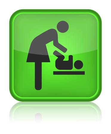 여성과 아기, 아기 변화, 벡터 아이콘, 화장실, 기호