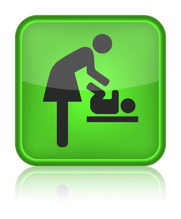 washroom: icon toilet, symbol for women and baby, baby changing, vector
