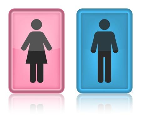 washroom: WC icono, hombre y mujer, ilustraci�n vectorial Vectores