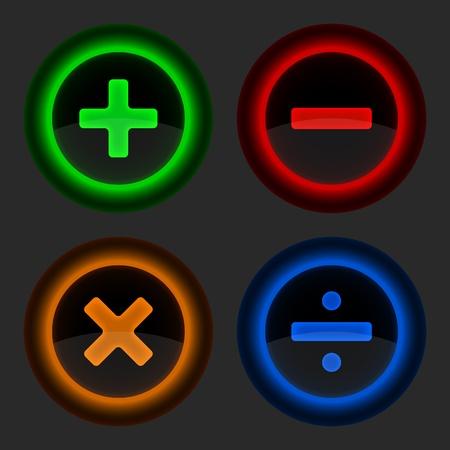 simbolos matematicos: Botón de la web de colores con símbolos matemáticos. Formas redondeadas grises de fondo. ilustración vectorial