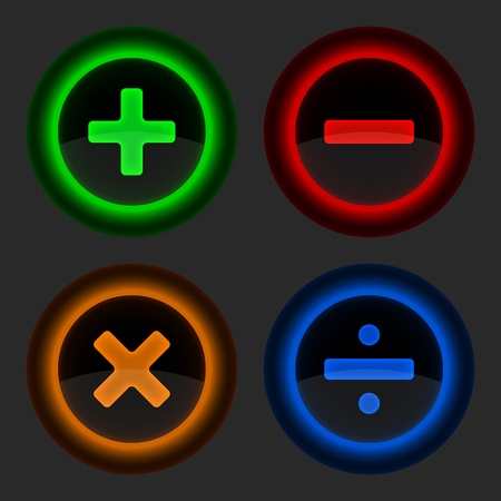 POSITIVE NEGATIVE: Colored web button with math symbols. Round shapes gray background. vector illustration