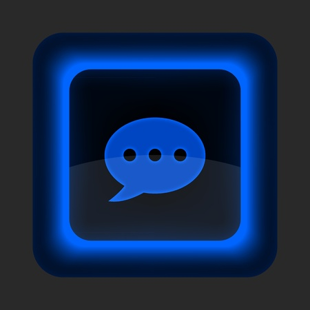 Blue glossy web button with chat room sign. Rounded square shape icon on gray background