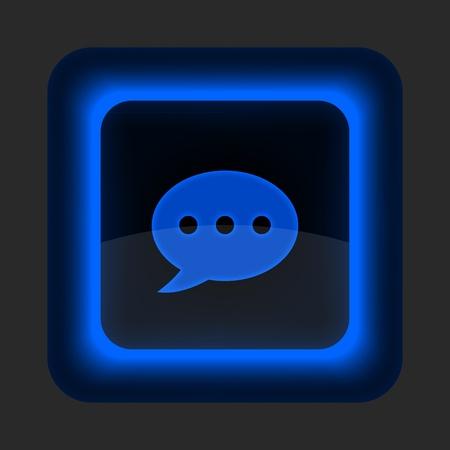 forme carre: Bouton bleu web brillant avec signe salon de chat. Arrondi ic�ne de forme carr� sur fond gris