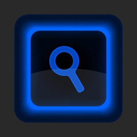 forme carre: Bouton bleu web brillant avec loupe signe verre. Arrondi ic�ne de forme carr� sur fond gris