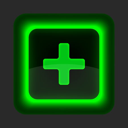 Green glossy web button with addition sign. Rounded square shape icon on gray background Vector