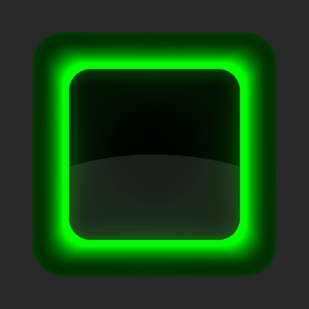 Green glossy blank internet button. Rounded square shape icon on gray background. Vector
