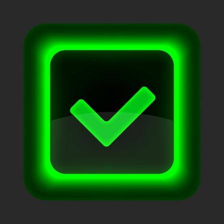 Botón verde brillante Web con el signo de marca de verificación. Redondeado icono de forma cuadrada sobre fondo gris. Ilustración de vector