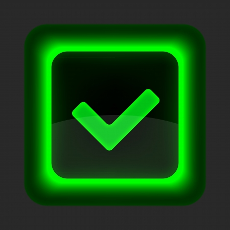 Green glossy web button with check mark sign. Rounded square shape icon on gray background. Vector
