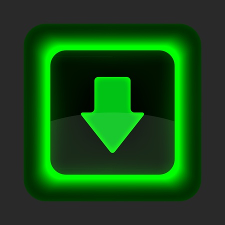 Green glossy internet button with arrow download symbol. Rounded square shape icon on gray background.