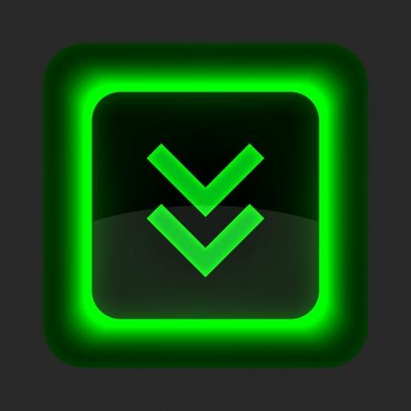 forme carre: Bouton vert brillant avec internet symbole de t�l�chargement fl�che. Arrondi ic�ne de forme carr� sur fond gris