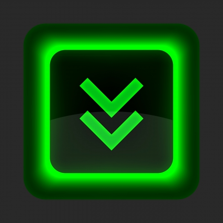 downgrade: Green glossy internet button with arrow download symbol. Rounded square shape icon on gray background Illustration